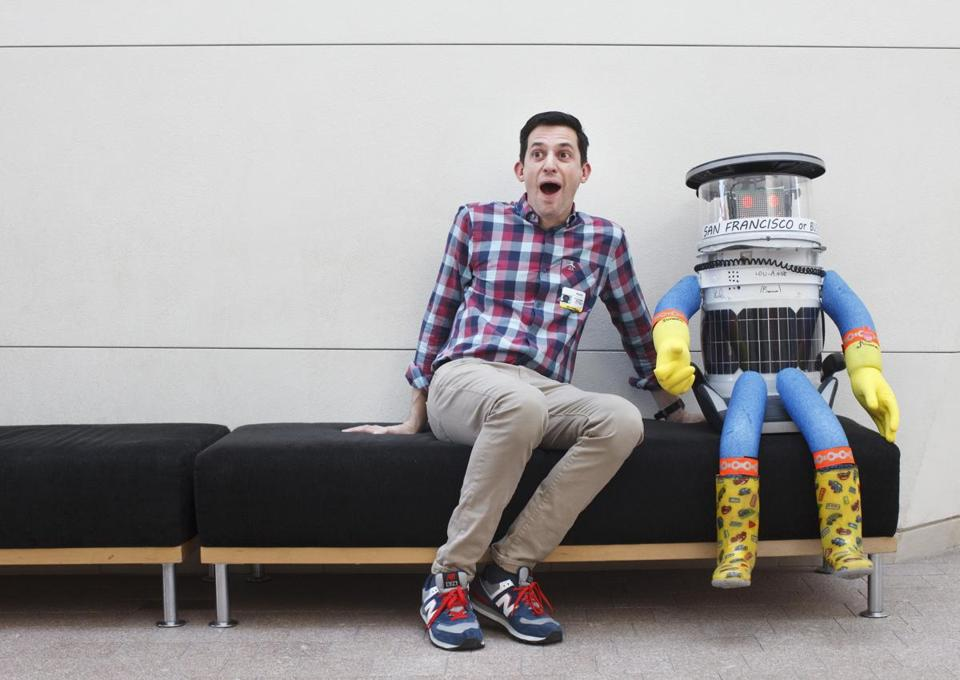 The author and hitchBOT in Salem, ready to roll.